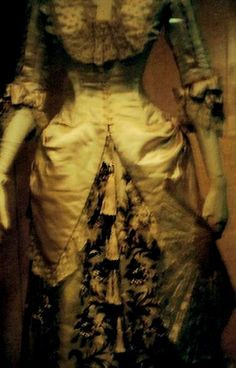 Detail of gown in collection of Victoria & Albert Museum, 1880.