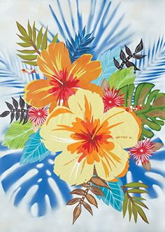 Flower Power by Jennifer Peck embellished giclee ~ 30 x 24 Flamingo Art, Coastal Art, Beach Art, Flower Patterns, Flower Art, Flower Power, Doodles, Clip Art, Fine Art