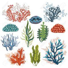 Ensemble de bande dessinée plantes sous-marines et des créatures. Vecteur coraux et algues isolé.