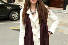 Stiletto in the Cloud: Burgundy Scarf & White Coat