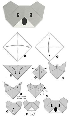 Read more about Origami Paper Craft - DIY Papier Diy Origami, Origami Koala, Design Origami, Origami Simple, Easy Origami For Kids, Origami Fish, Paper Crafts Origami, Origami Stars, Origami Ideas