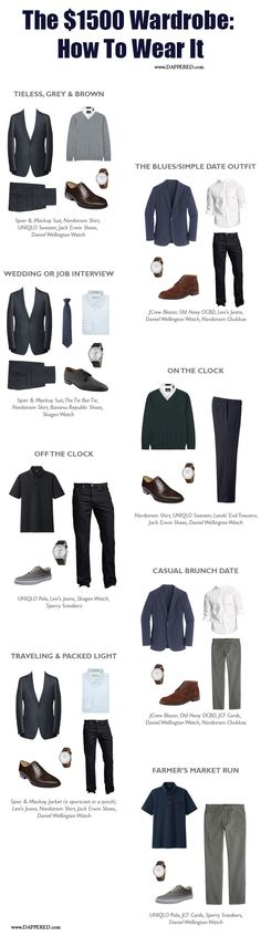 Putting it all together. Outfit suggestions from our recently completed $1500 Wardrobe experiment.