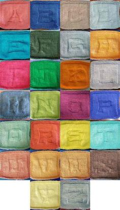 monogrammed knitted dishcloths. I love the variety of colour used in the photo as well.