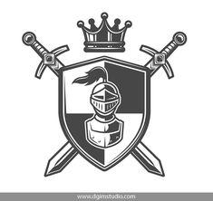 Vintage monochrome knight coat of arms Royalty Free Vector , Shield Drawing, Sword Drawing, Knight Sword, Knight Shield, Warrior Helmet, Warrior Logo, Sword Logo, Zelda Tattoo, Knight Logo