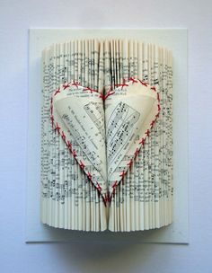 Valentine Heart Book Sculpture by yinsteadofi on Etsy