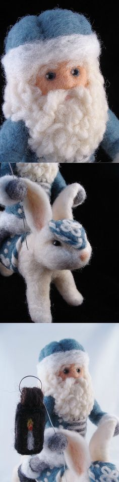 ... One-of-a-kind Rabbit and Father Christmas Needle Felted Soft Sculpture