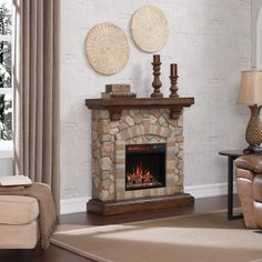 The Tequesta Stone Fireplace with Insert by Classic Flame adds warm to any room, including the casual styling it brings.