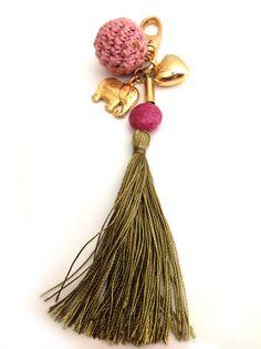 Crochet Tassel beaded keychain boho chic gypsy chic by VeroGOBET