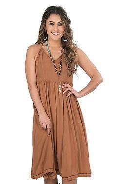 Onetheland Women's Brown Halter Dress | Cavender's