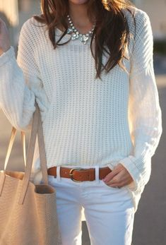 White jeans and chunky ivory sweater from A Fall Transition - elements of style