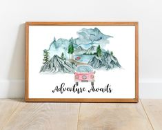 Adventure Awaits Wall Decor Pink Watercolor Van Printable Wall Art Combi Minivan Pink Watercolor Mountains Printable Travel Quote Print  This artwork features a Pink watercolor vintage combi minivan in the mountains, following a travel-inspired quote. If you do not prefer a quote, I have included another print without one, so you can choose whichever version you like more!  The print is perfect for any room, even a Nursery! Printable Quotes, Printable Wall Art, Printing Services, Online Printing, Minivan, Pink Watercolor, Adventure Awaits, Quote Prints, Wall Decor