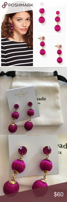 """Kate Spade Linear Graduated Ball Earrings Kate Spade Linear Graduated Ball Earrings in Fuchsia. Gorgeous addition to your accessories wardrobe! Gold plated metal with silk thread and glass stones. Stainless steel posts. Approximate 2"""" drop length. NWT and dust bag. #1337 kate spade Jewelry Earrings"""