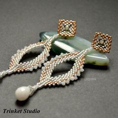 TRINKET STUDIO - Geometrycznie- z białym jadeitem, #Earrings, #TrinketStudio, #Beading