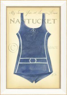 8d8d10f7dc Vintage Swimsuit Art - Nantucket Beach Signs