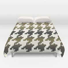 The Houndstooth Vault Duvet Cover by Vikki Salmela on Society6, #new #graphic #modern #geometric #Houndstooth #gold #black #contemporary #art on #microfiber #duvet #covers for #bed #bedroom #trendy #home #fashion #decor. Great for #apartment #gift