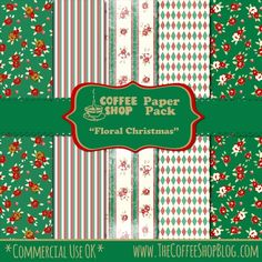 CoffeeShop Floral Christmas Digital Paper Set -FREE-