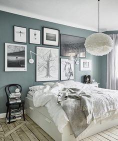 2018 Bedroom Inspo Grey Green Black White Colour Palette