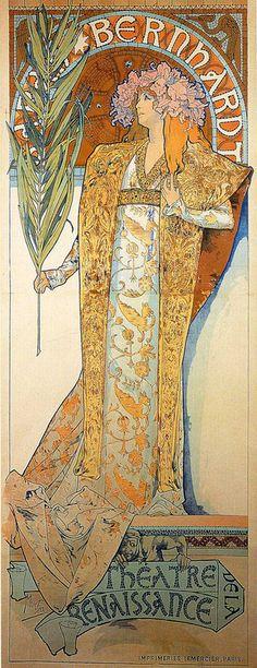 Gismonda 1894                                                                                                                                                                                                                                                                                                                     L'affiche de la scène de Sarah Bernhardt, qui fait la renommée de Mucha.(ci-dessus)Affiches célèbres    ...    signées Alfons Mucha  !