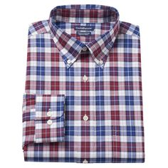 Men's Croft & Barrow® True Comfort Fitted Oxford Stretch Dress Shirt, Size: 17.5 36/37, Red
