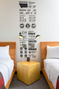 Thinktank Design Group have designed the Lark Hotel in Bozeman, Montana. Local artists were hired to create unique pieces for every room, that depict life in Montana