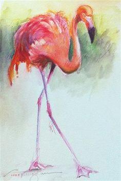 """""""53 - Flamingo"""" - Original Fine Art for Sale - © V.... Vaughan"""