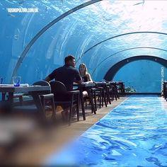 Maldives Resort, Maldives Travel, The Maldives, Maldives Hotels, Maldives Underwater Hotel, Underwater Restaurant, Vacation Places, Dream Vacations, Vacation Spots