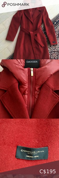DONNA KARAN NEWYORK Cashmere Wool Designer Coat Stunning deep orange coat from Donna Karan New York's luxury collection. Wool cashmere blend. Beautifully soft. Snap button closure and waist tie. Removable hood and inner zipper portion. Such a cool mix of a puffer and dress coat. GORGEOUS. Size 6. Brand new with tags! From a pet and smoke free home 😊 Donna Karan Jackets & Coats Long Jackets, Jackets For Women, Silk Coat, Lambskin Leather Jacket, Linen Blazer, Cashmere Wool, Coat Dress, Donna Karan, Hooded Jacket