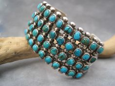 Native American Jewelry - Turquoise Petit Point Bracelet - Vintage Cuff - Silver Work - Multi Row Bracelet - Heavy Silver by TemporaryVintage on Etsy https://www.etsy.com/listing/197696543/native-american-jewelry-turquoise-petit