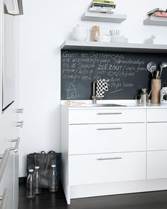 Love this --  chalkboard in the kitchen. Maybe write grocery lists, recipes, meal plans...