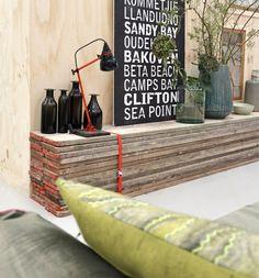 © Paulina Arcklin(Concept & Styling') for `VT Wonen`, a Dutch Magazine. - Wat een heerlijk goedkoop en creatief idee voor een tv meubel / tafeltje