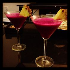 Dragonfruit, pineapple, and coconut Ciroc vodka cocktail