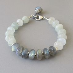 Aquamarine Rainbow Moonstone Bracelet Sterling Silver by DJStrang