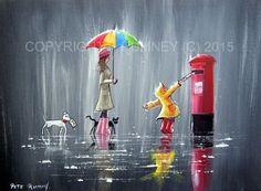 PETE-RUMNEY-FINE-ART-MODERN-ORIGINAL-ACRYLIC-OIL-PAINTING-LETTERS-AND-RAIN-DROPS