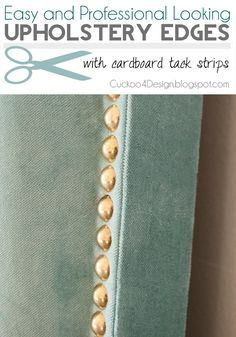 easy and professional looking upholstery edges with cardboard tack strips and individual brass nails Diy Headboard With Lights, Cheap Diy Headboard, Headboard Ideas, How To Make Headboard, How To Make Bed, Velvet Headboard, King Headboard, Diy Upholstered Headboard, Diy Curtains