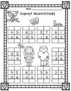 Valentine Subtraction with Regouping Freebie First Grade Math Worksheets, Free Math Worksheets, First Day Of School Activities, Math Activities, Addition And Subtraction Worksheets, Math Charts, Math For Kids, Math Classroom, Math Lessons