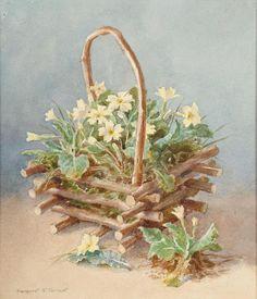 Margaret W.Tarrant (British, 1888-1959) A basket of flowers, 25.5 x 22 cm.