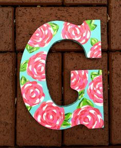 Hand Painted Lilly Pulitzer Inspired Wooden Letter G in First Impressions by PreppyLillyPatterns Cute Etsy Listing