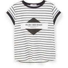 MANGO Printed Cotton-Blend T-Shirt (23 NZD) ❤ liked on Polyvore featuring tops, t-shirts, shirts, blusas, t shirts, white short sleeve shirt, short-sleeve shirt, print t shirts, striped t shirt and white stripes shirt