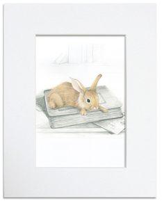 Rabbit on Books - Children's illustration art print. $29.95, via Etsy.