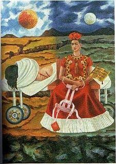 """1946 - Arbol de la Esperanza, Mantente Firme - Frida pintó este autorretrato después de una operación quirúrgica frustrada en NY. Escribió acerca de la pintura y las cicatrices """"...con las cuales esos cirujanos, hijos de perra, me han dejado"""". En el mensaje """"Árbol de la esperanza, mantente firme"""", el cual está escrito en la bandera, parece que se esté dando animo a si misma. La frase está tomada de una de sus canciones favoritas: Cielito Lindo"""