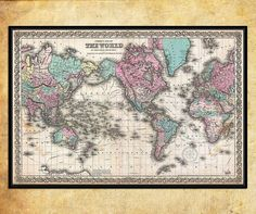 Antique World wall Map by Joseph Hutchins Colton LARGE Archival Fine Art print - 001