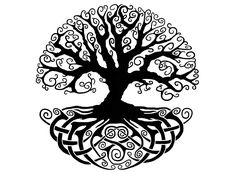 Celtic Knot Tree of Life in black silk screen enamel decals. Open areas are…