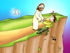 Bible Cartoon, Jesus Cartoon, Religious Pictures, Bible Pictures, Religion Catolica, Bible Verse Art, Favorite Bible Verses, Love Wallpaper, Bible Stories
