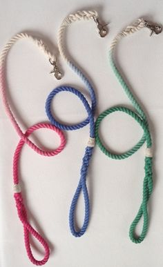 Nautical Ombre dyed rope leash by NativeHound on Etsy