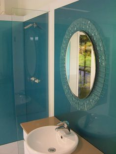 Blue Shower Walls in Acrylic, # alternative to tiles # installed by OzzieSplash