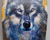 """Wolf Face """"Wooded Art"""" Painting on Vintage Gold or Silver Plated Reclaimed Wood (8821-110)"""
