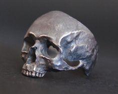 Items similar to Into The Fire Jewelry - Skull ring New Standard half jaw Gen. 2 silver mens skull biker masonic rock n roll handmade jewelry etsy on Etsy Silver Skull Ring, Skull Wedding Ring, Skull Rings, Into The Fire, Biker Rings, Skull Jewelry, Jewellery, Hippie Jewelry, Viking Jewelry