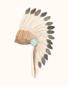 Indian Headdress Art Print 8x10 Bohemian Tribal by BillyandScarlet