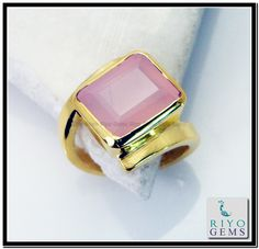 Rose Quartz Gem 18k Gold Plated Promise Ring Sz 7 Gprroq7-6816 http://www.riyogems.com