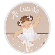 Placa niña ballet blanco y beige